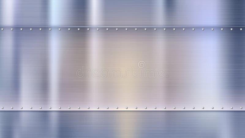 Superficie de metal con textura y remaches Polished clavó las hojas de metal con reflexiones borrosas coloreadas Fondo para stock de ilustración