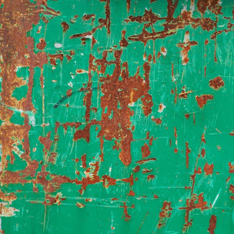 Superficie de metal oxidada verde pintada fotos de archivo