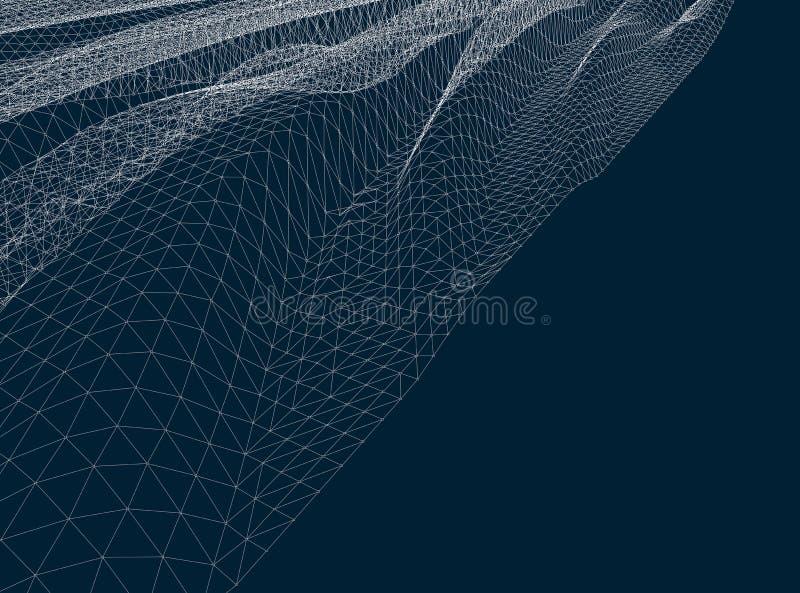 Superficie del agua Fondo ondulado del vector de la rejilla ilustración del vector