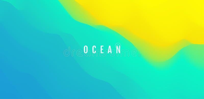Superficie del agua Onda del oc?ano en la playa arenosa Fondo de la naturaleza Dise?o de pantalla moderno para el app y la web m? stock de ilustración