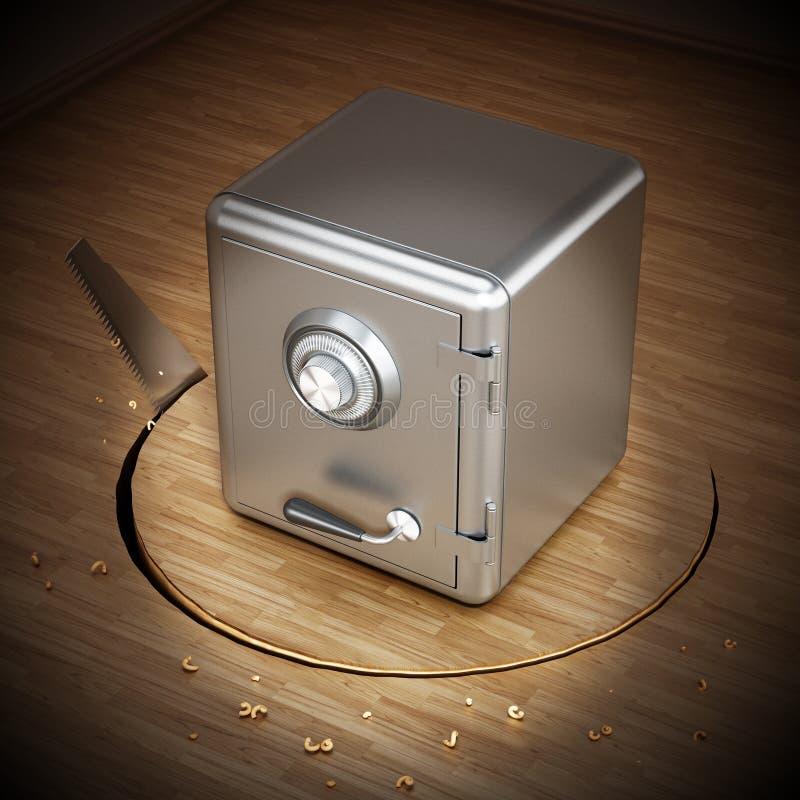 Superficie del parquet di taglio della sega con una cassaforte d'acciaio chiusa illustrazione 3D royalty illustrazione gratis