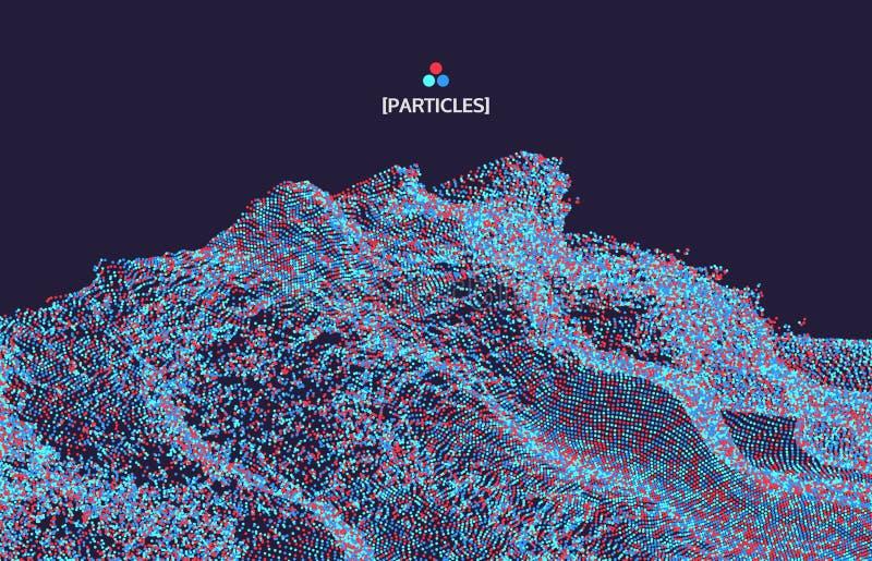 superficie di griglia 3D con le particelle Stile futuristico di tecnologia sottragga la priorità bassa Illustrazione di vettore p illustrazione vettoriale