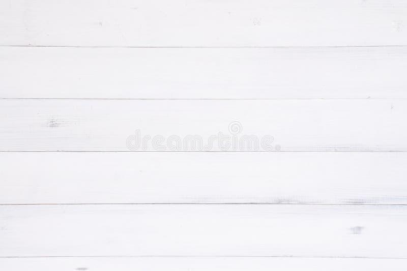 Superficie di legno bianca del fondo di struttura con il vecchio modello naturale o la vecchia vista di legno del piano d'appoggi fotografie stock