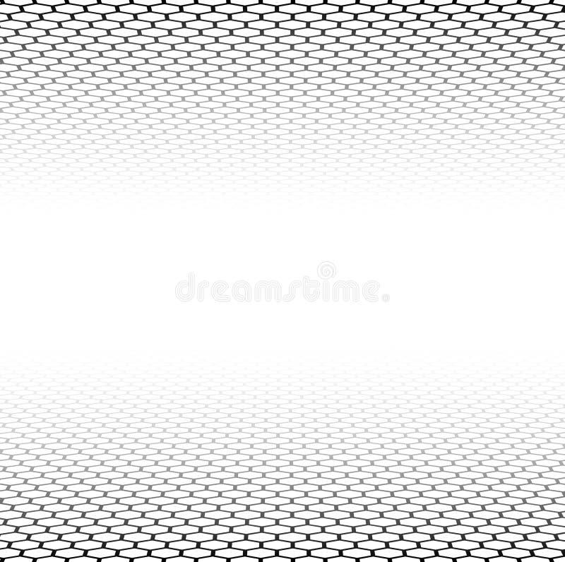Superficie esagonale di griglia di prospettiva illustrazione vettoriale