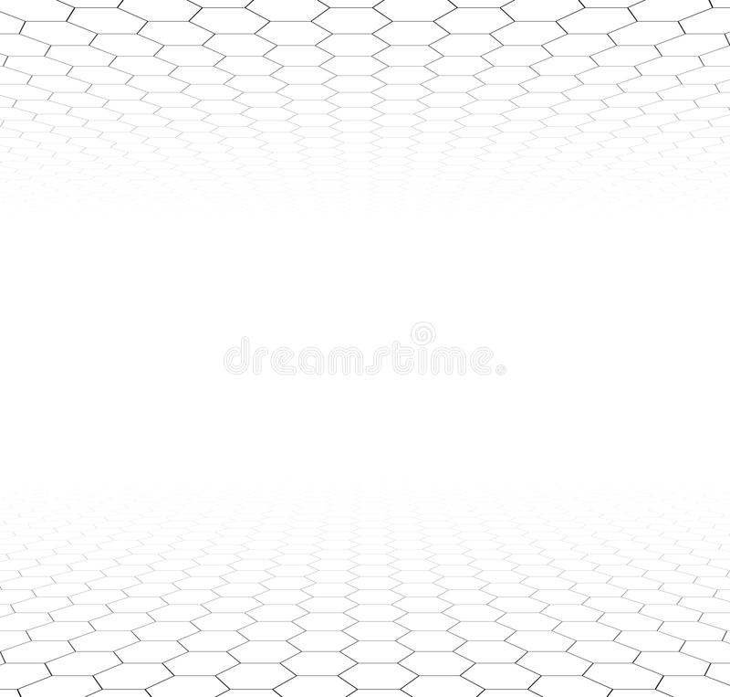 Superficie esagonale di griglia di prospettiva illustrazione di stock
