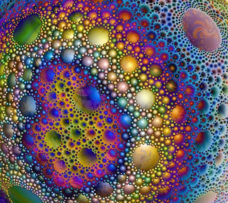 Superficie esférica abstracta cubierta con descensos multicolores, bubb stock de ilustración