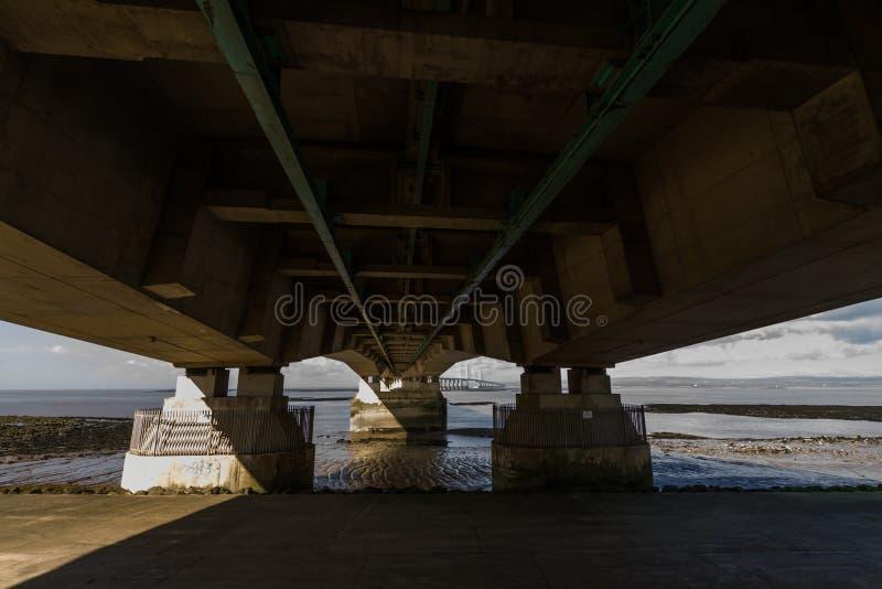 Superficie inferior de segundo Severn Crossing, puente sobre Bristol Cha imagen de archivo