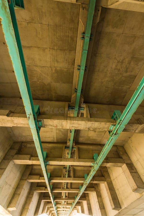 Superficie inferior de segundo Severn Crossing, puente sobre Bristol Cha fotografía de archivo