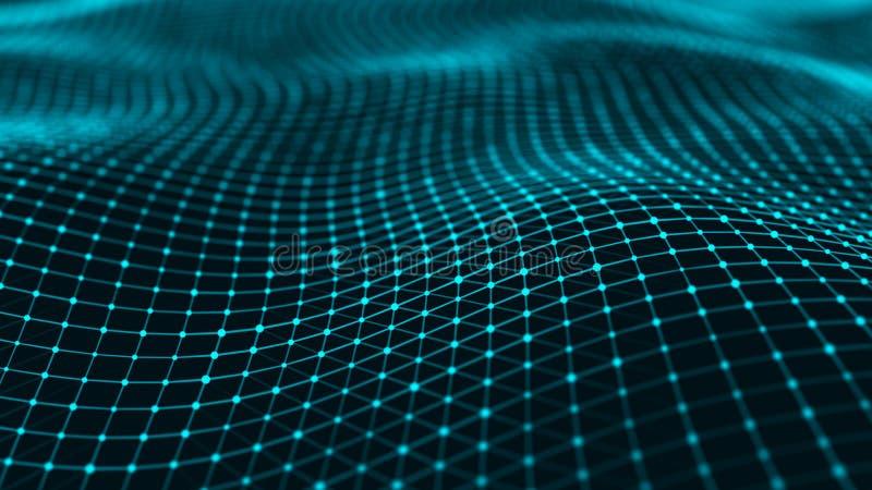 Superficie ondulada con muchos puntos y l?neas Fondo futurista abstracto representaci?n 3d ilustración del vector