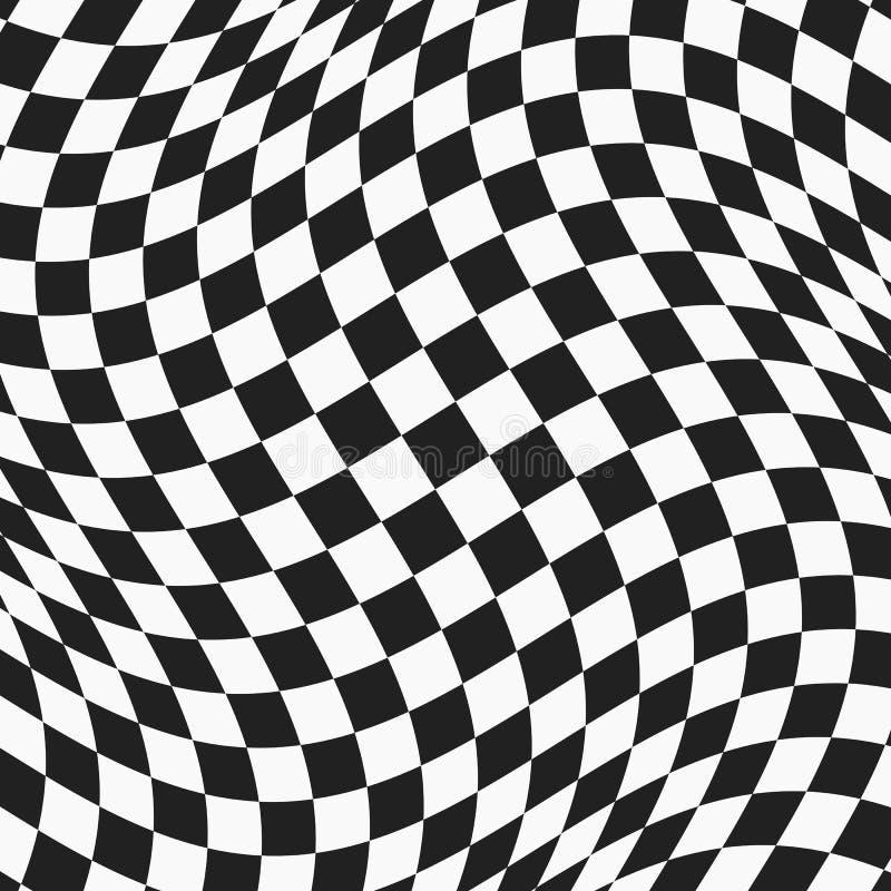 Superficie ondulada a cuadros blanco y negro ilustración del vector