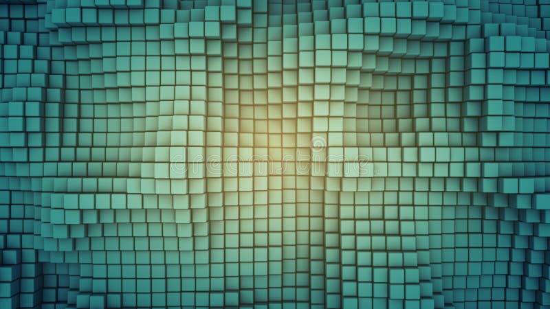 Superficie ondulada de la representación abstracta 3D de los cubos libre illustration