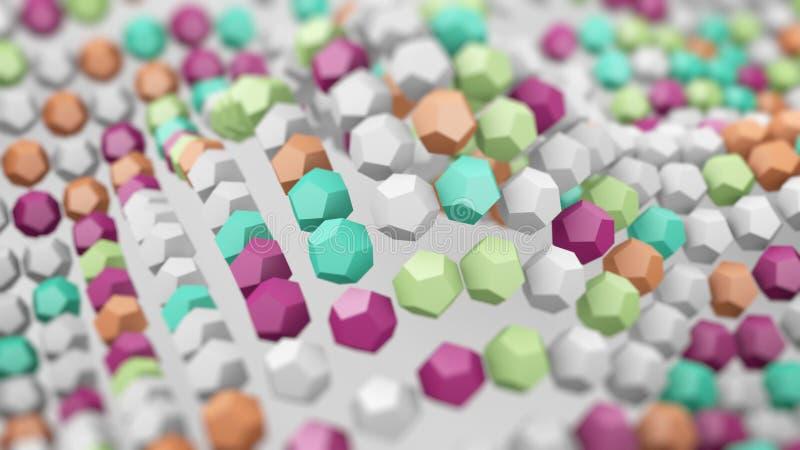 Superficie ondulada de polígonos coloridos 3d rinden stock de ilustración