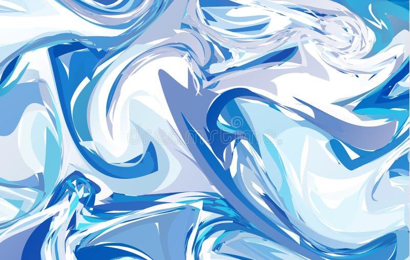 Superficie veteada vector hermoso Textura hecha a mano única con la pintura líquida Fondo de la acuarela Ondas azules libre illustration