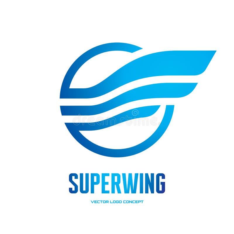 Superflügel - vector kreative Illustration der Logoschablone Abstraktes Zeichen Transportkonzeptsymbol Vektorbild, Abbildung lizenzfreie abbildung