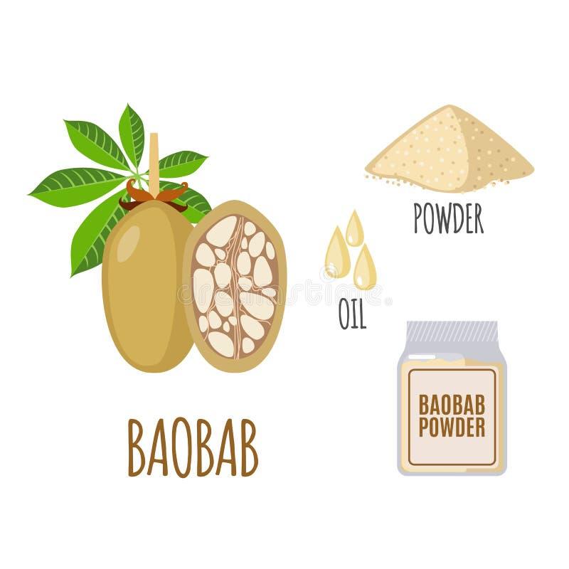 Superfood baobabuppsättning i plan stil royaltyfri illustrationer