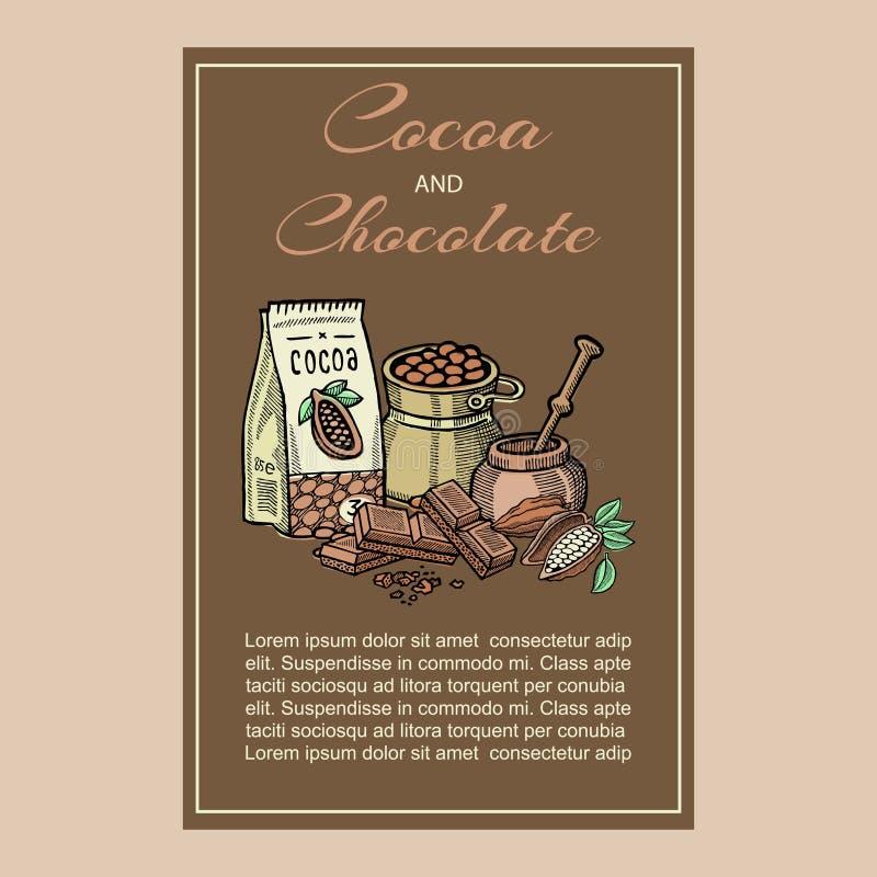 Superfood de cacao de vecteur Illustration saine organique de nourriture Rétro fond de style avec des graines de cacao, paquet de illustration stock