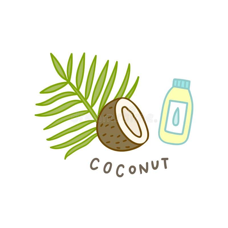 Superfood della noce di cocco isolato su bianco illustrazione di stock