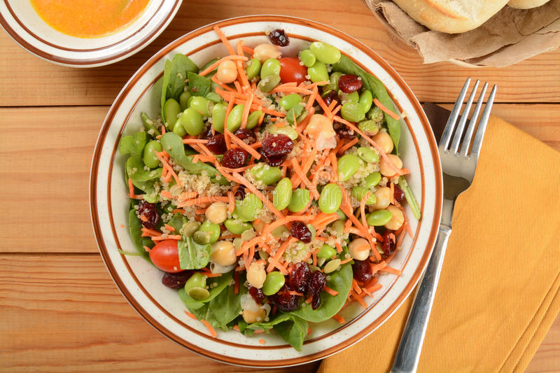 Superfood salad. Healthy salad with chickpeas, cranberries, edamame, and more stock photos