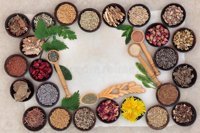 Superfood for Women. Superfood with herb and spice selection used in natural alternative medicine for women royalty free stock photos