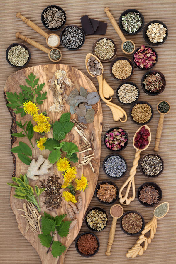 Superfood for Women. Superfood with herb and spice selection used in natural herbal medicine for women royalty free stock images