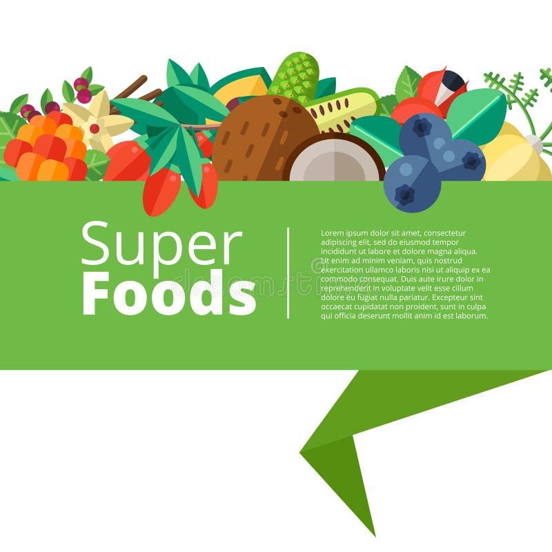 Superfoodachtergrond met vruchten, groenten, bessen, noten en vector illustratie