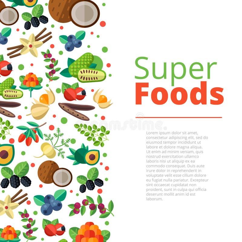 Superfoodachtergrond met vruchten, groenten, bessen, noten en royalty-vrije illustratie