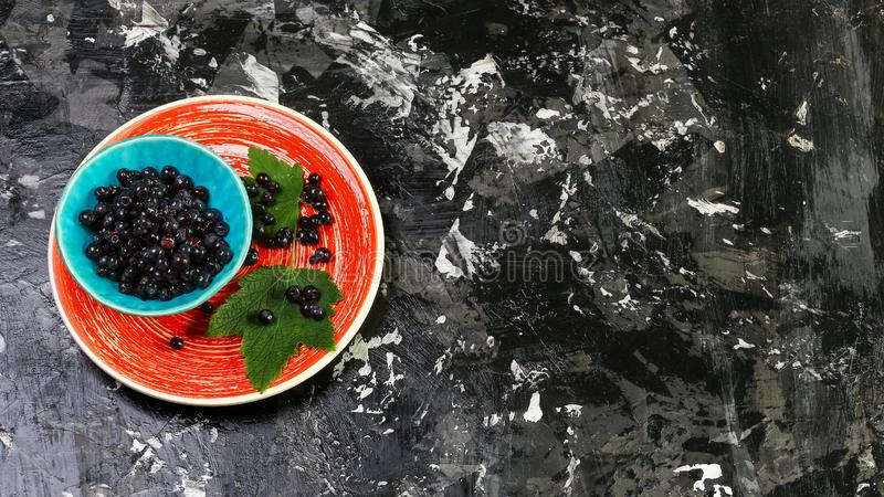 Superfoods antioxidant of indian mapuche. Bowl of fresh maqui berry on blue background, top view Authentic lifestyle image stock images