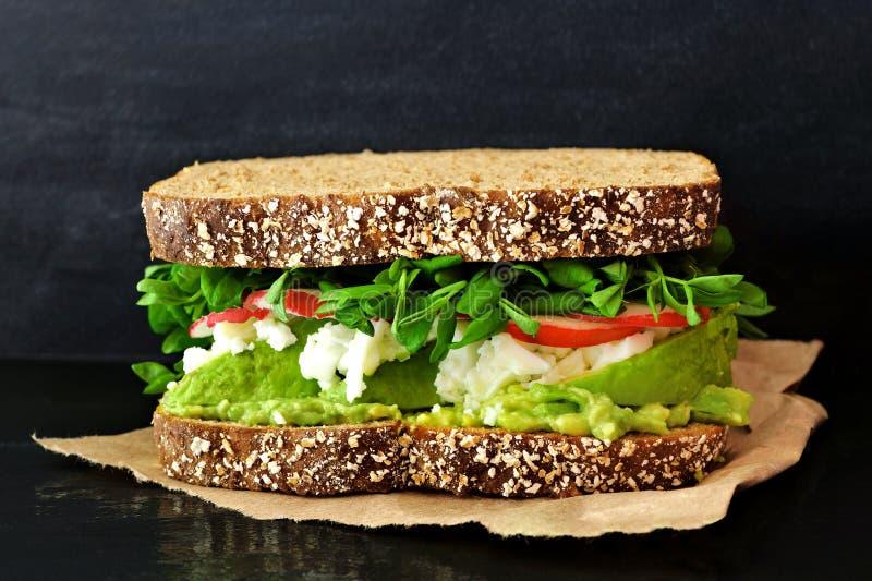 Superfoodsandwich met avocado, eiwit, radijs en erwtenspruiten stock foto's