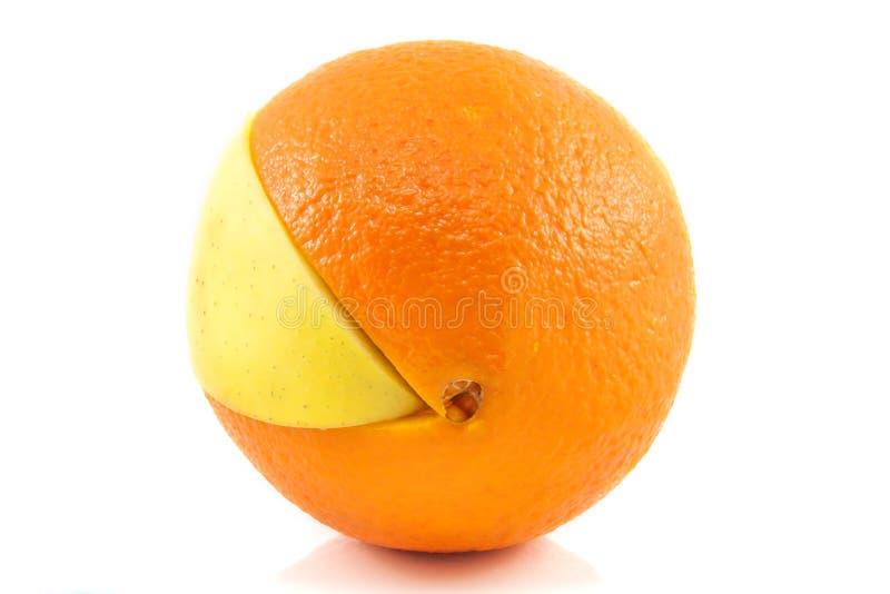 Superfruit - appel en sinaasappel royalty-vrije stock foto's