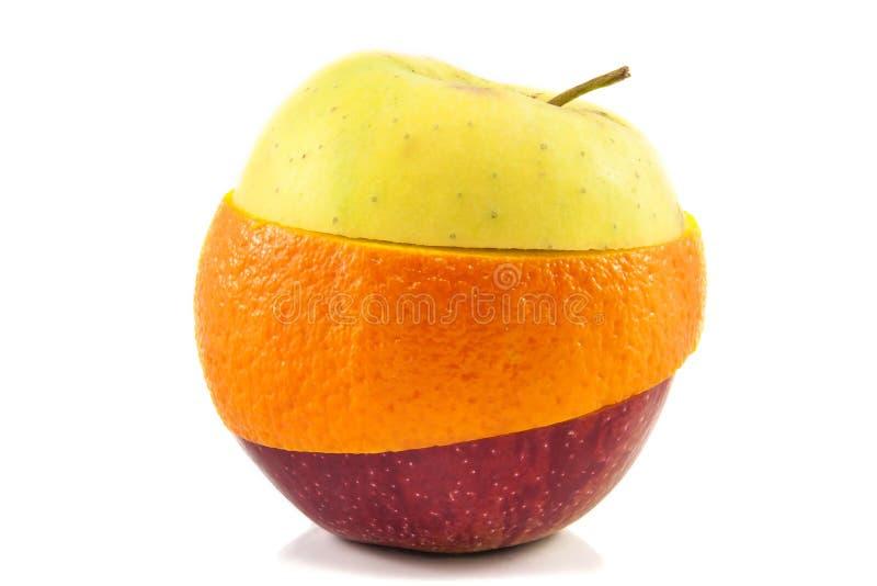 Superfruit - gele appel, rode appel en sinaasappel royalty-vrije stock foto's