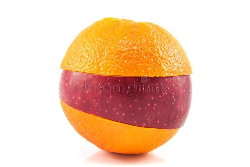 Superfruit - rode appel en sinaasappel stock foto's