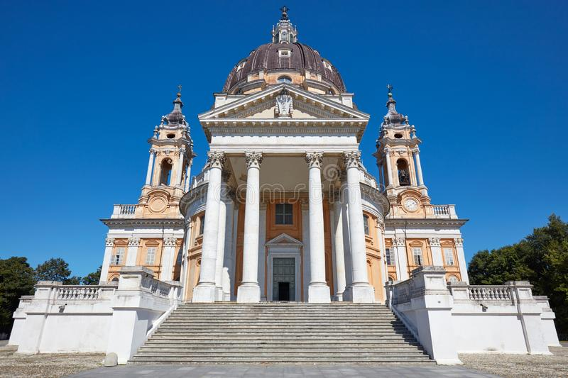 Superga basilica in Turin frontal view, nobody in a sunny day in Italy. Superga basilica in Turin frontal view, nobody in a sunny summer day in Italy royalty free stock photography