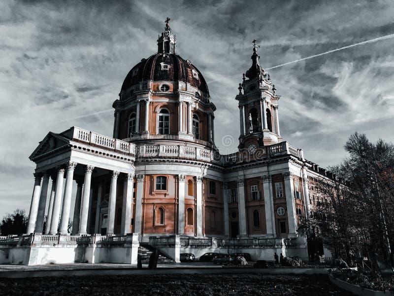 12.05.19 - Superga, Turin, Italien - Die wunderschöne Basilika von Superga bei Turin in Norditalien lizenzfreies stockbild