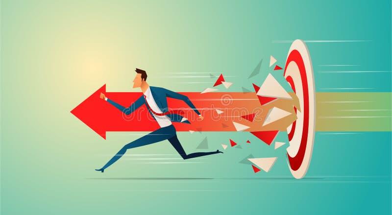 Supergeschäftsmann, der Zielbogenschießen zum erfolgreichen Vektor laufen lässt und bricht Geschäftssuperheld, der auf dem Pfeil  stock abbildung