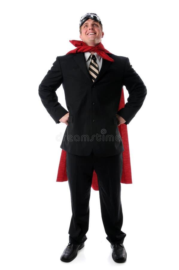 Supergeschäftsmann mit Umhang und Schutzbrillen stockfotografie