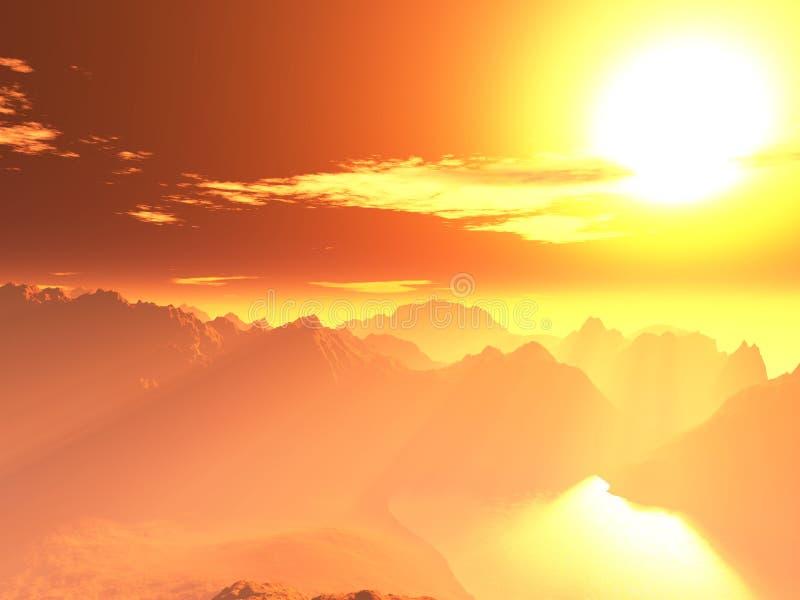 supergiant röd sun för dött planet royaltyfri illustrationer
