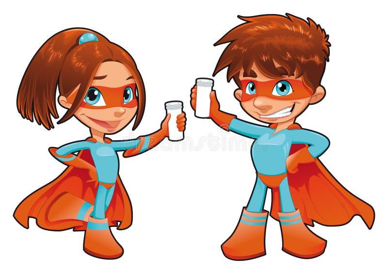 SuperGirl e SuperBoy com os phials em suas mãos. ilustração do vetor