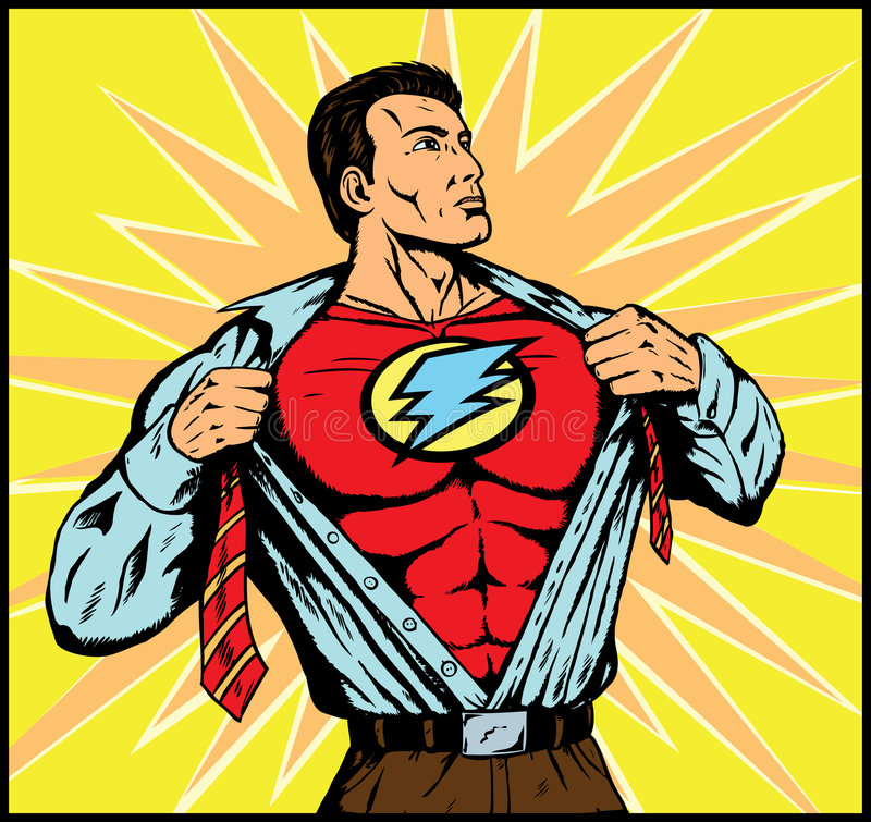 Superguy changing for action. Superhero changing, lightning quick, no word balloon royalty free illustration