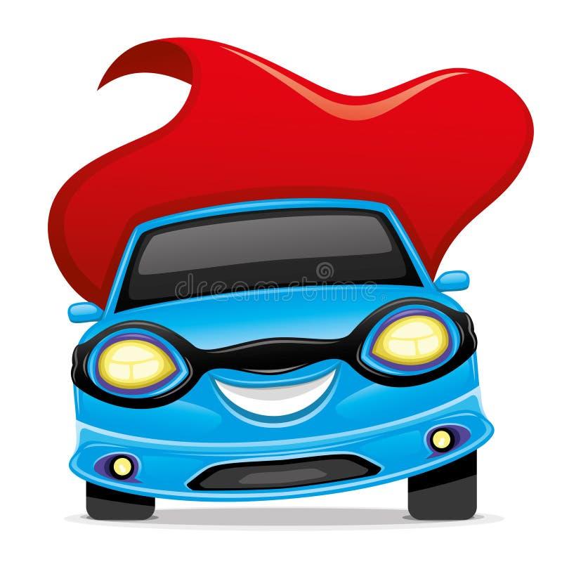 Superhéroe azul del coche ilustración del vector