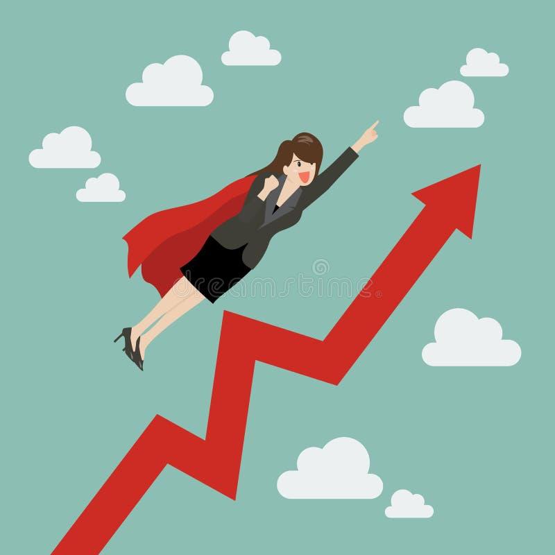 Superhéroe de la mujer de negocios con el gráfico cada vez mayor libre illustration