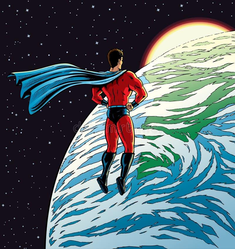 Superhéroe sobre la tierra stock de ilustración