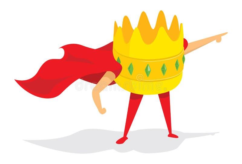 Superhéros de roi ou de couronne se tenant avec le cap illustration stock