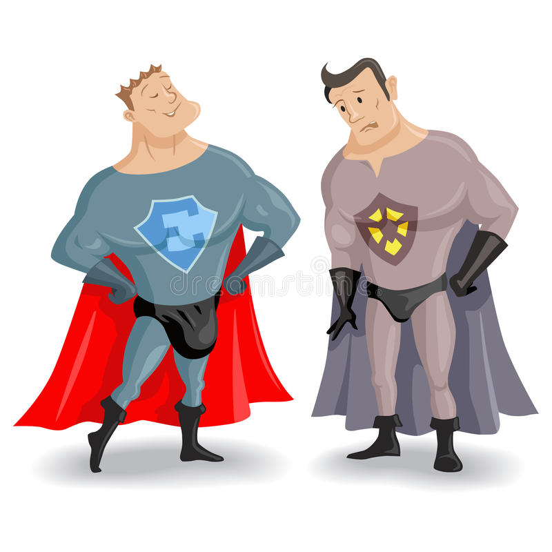 Superhéros drôles de bande dessinée illustration stock