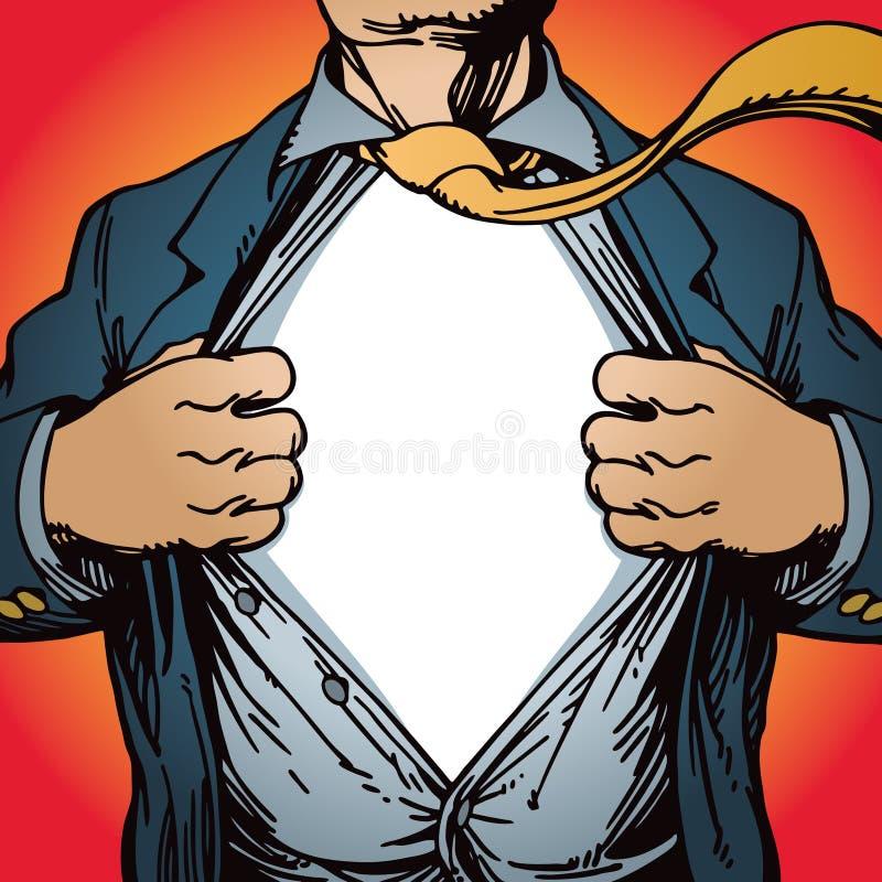 Superheld-Öffnungs-Hemd lizenzfreie abbildung