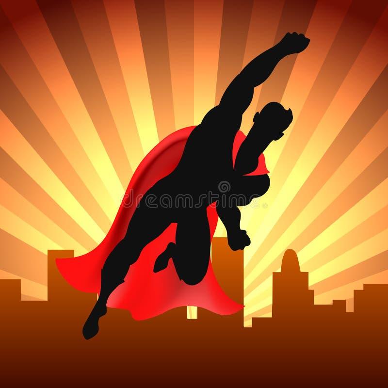 Superheld über Stadt lizenzfreie abbildung