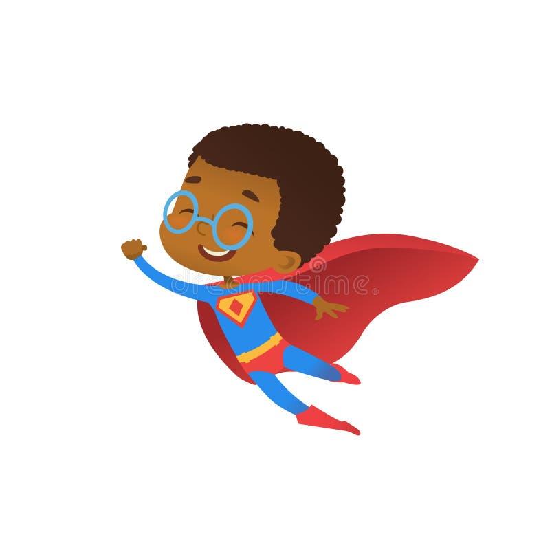 Superheld-afrikanisches nettes Kinderfliegen-Kostüm-flacher Vektor Glückliches Lächeln-kleiner tapferer Junge tragen rotes Kap Kü lizenzfreie abbildung