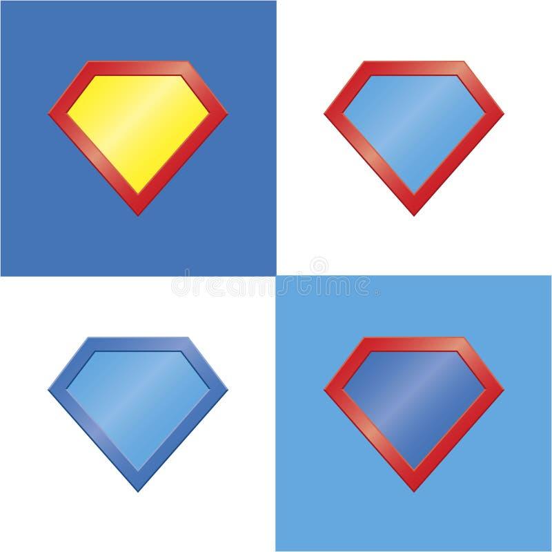 Superheld-Ausweissatz des Superheldlogoschablonenfreien raumes lizenzfreie abbildung