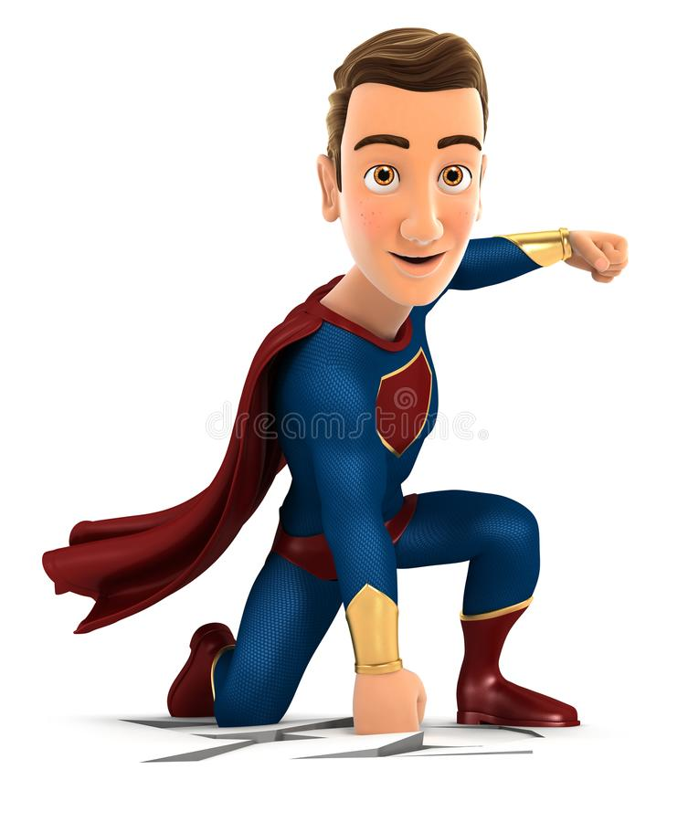 Superheld 3d, der auf der Erde ankommt lizenzfreie abbildung