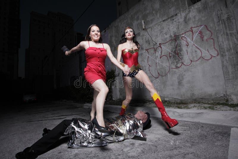 Superheld, der den Tag sichert stockfotografie