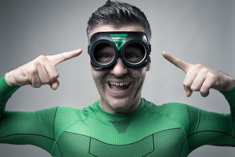 Superheld, der eine großartige Idee hat stockfotografie
